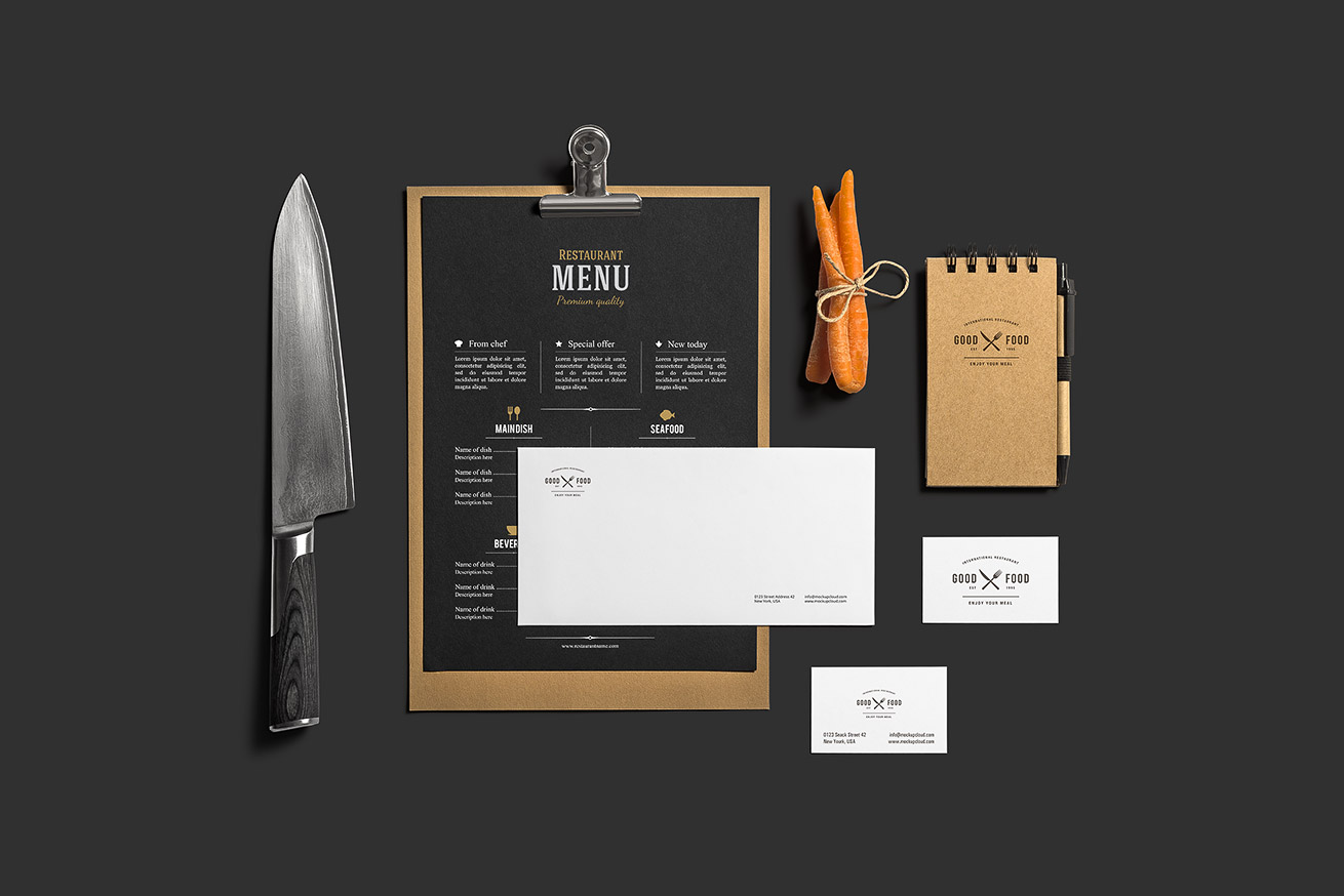 restaurant bar stationery branding mockup mockup cloud